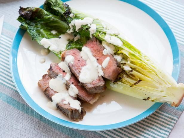 Get Grilled Strip Steak and Caesar Salad Recipe from Food Network