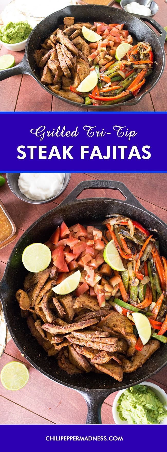 Grilled Tri-Tip Steak Fajitas - Every night is fajita night with this recipe for perfectly grilled tri-tip roast rubbed down with homemade fajita seasoning, served with warmed flour tortillas, guacamole and plenty of grilled chili peppers.
