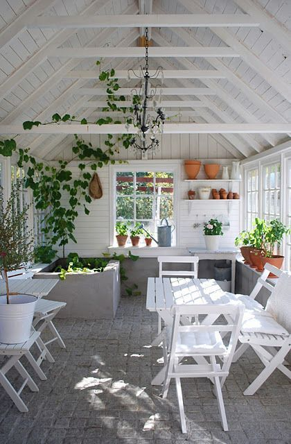 Garden room, walls and ceiling of the summerhouse, painted white or off white…