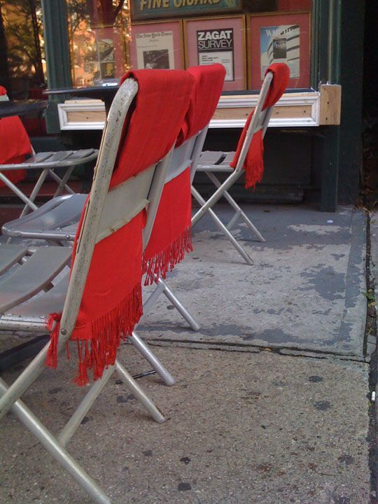 Chairs with scarves!