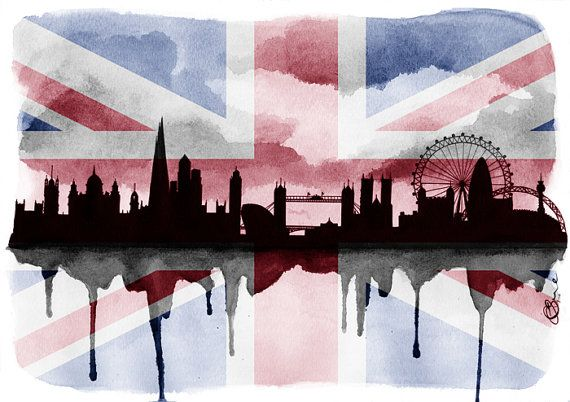 London Silhouette Skyline 2 A5 5 x 7 Print  by paintthemoment, £7.00