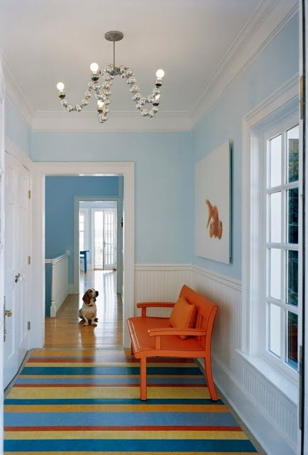 Bright, cheery hallways make me smile :)  Love the wainscoating and gorgeous blue with the crisp white.