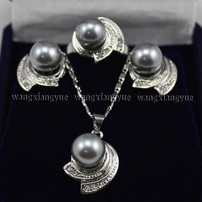 10 мм серый юг морские раковины жемчужные серьги кольцо и ожерелья комплект > 18 К GP покрытием золото свадебные широкий часы крылья королева JEWE