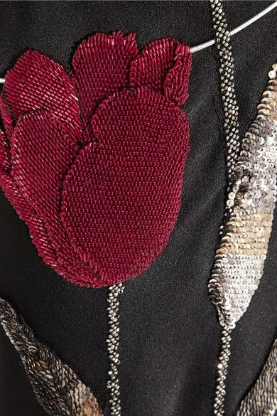 Alexander McQueen's black satin-crepe gown with crimson beaded poppies – Pre-Fall '14