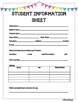 GREAT student information sheet with parent questions!!! All the info. teachers need!