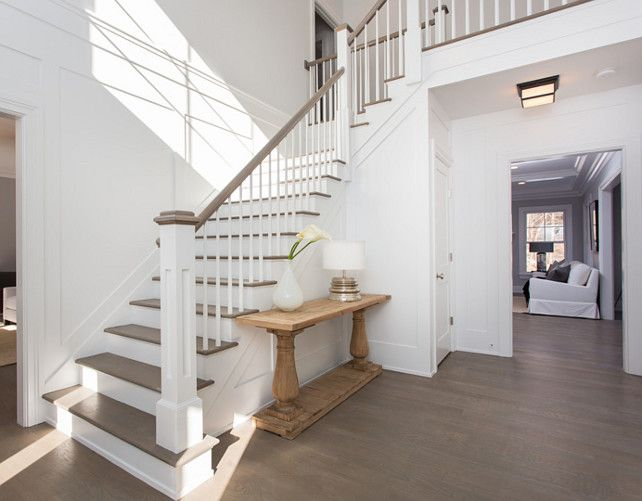 Foyer Staircase with bleached hardwood flooring. #Foyer #FoyerStaircase #BleachedHardwood  SIR Development.