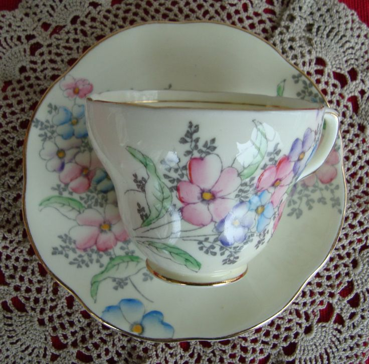 Foley English Bone China England - Vintage Tea Cup and Saucer - Made in England - Pink , Purple and Blue Flowers by OfftheShelf2015 on Etsy
