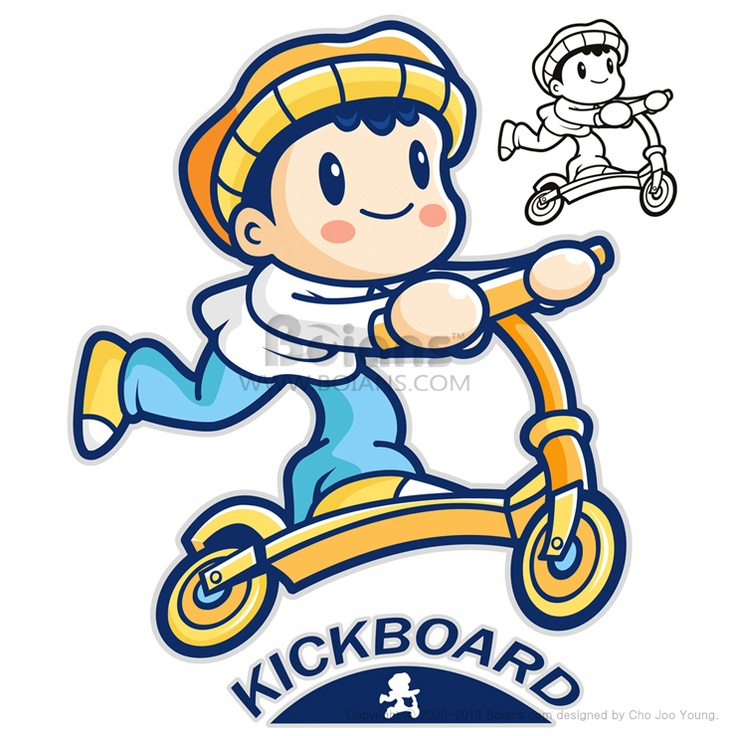 즐겁게 킥보드를 타고 있는 아이 마스코트. 스포츠 캐릭터 디자인 시리즈. (BCDS010518)  Entertain kids mascot riding Kickboards. Sports Character Design Series. (BCDS010518)  Copyrightⓒ2000-2013 Boians.com designed by Cho Joo Young.