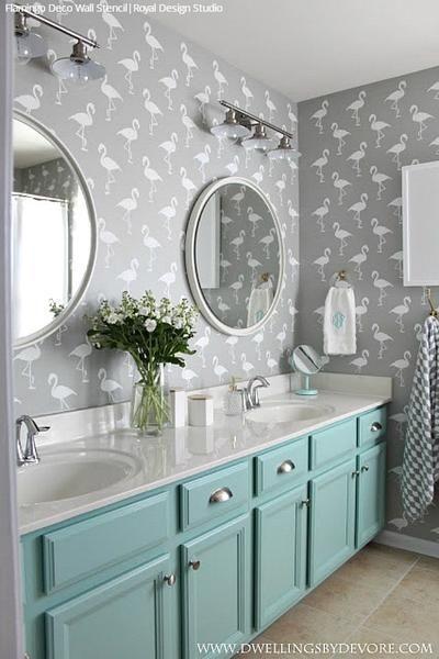 Retro or Modern Home Decor Projects - Flamingo Deco Wall Stencils - Royal Design Studio
