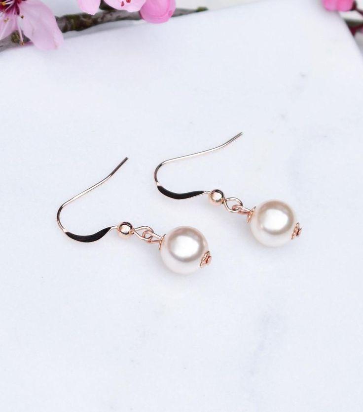 Rose Gold Pearl Fish Hook Earrings – Katherine Swaine #bridal #jewellery #weddings #bridesmaids #gifts #rosegold