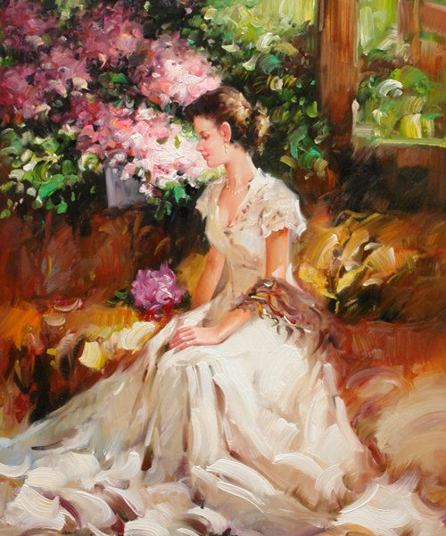 Woman In Garden With Flowers Oil Painting On Canvas Hand
