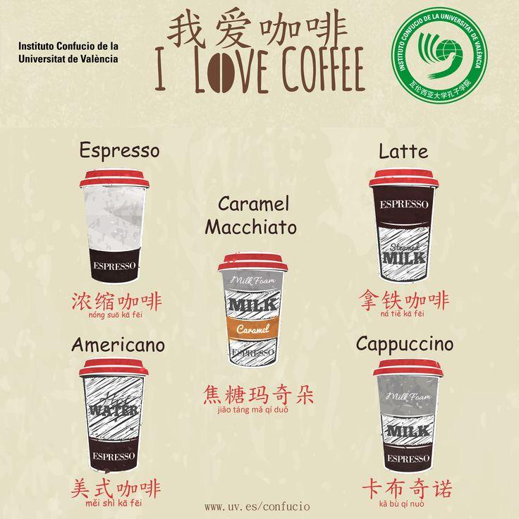 ¿Sabéis cómo se llaman los diferentes tipos de café en chino mandarín?