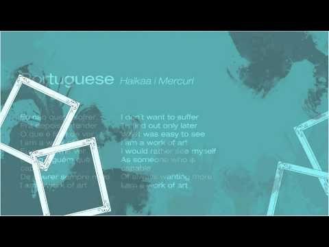 Slideshow with lyrics in Roman alphabet, original alphabet of the version and English translation.