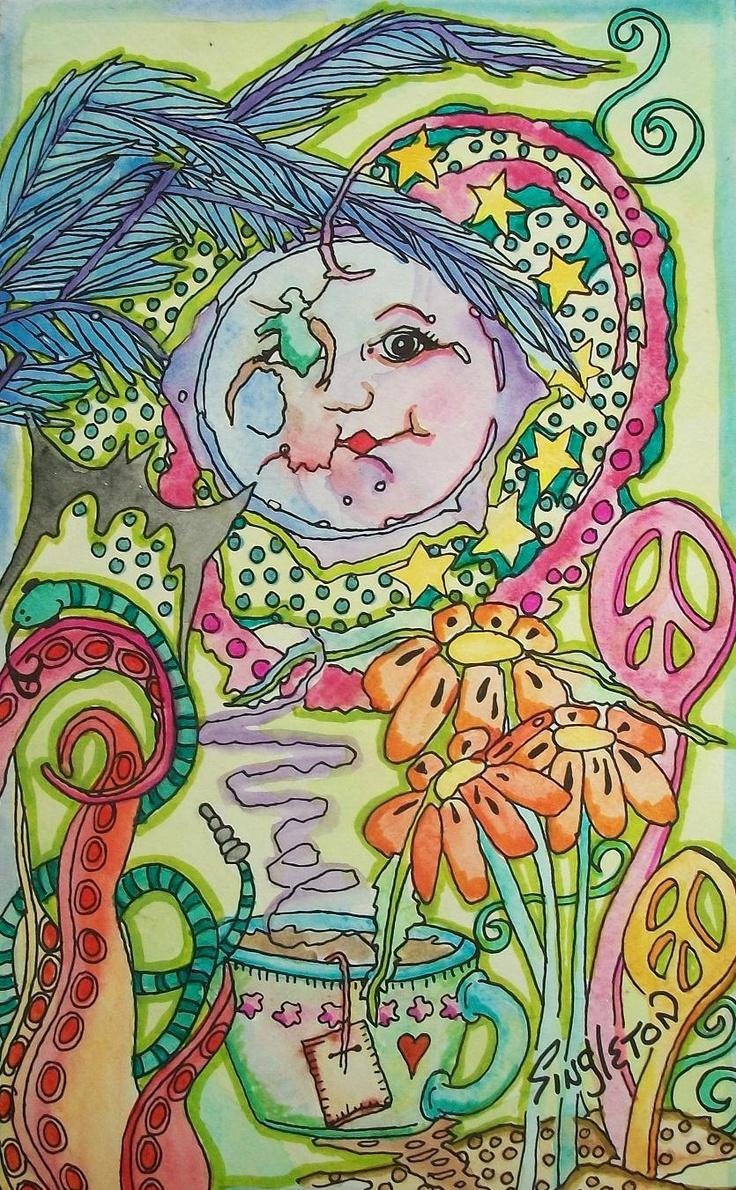 Luna Tea Party, Singleton Hippie Art Original