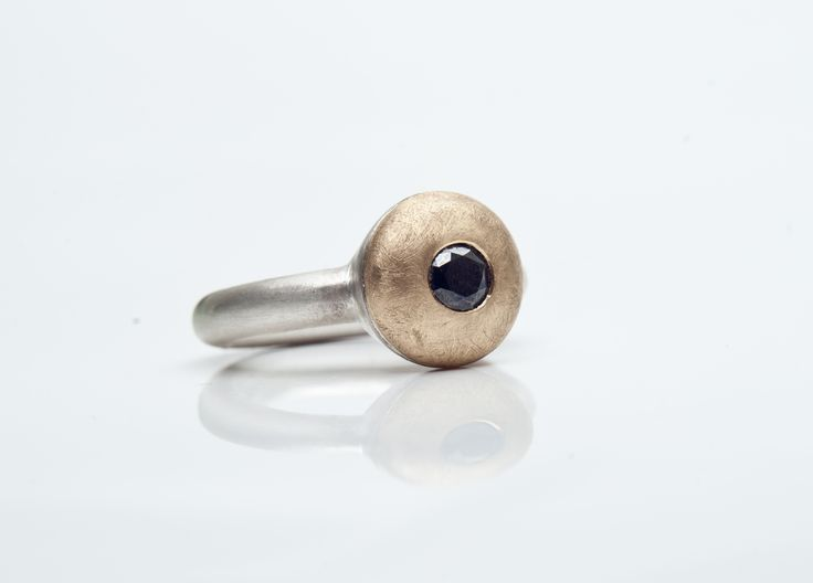 Silver and 18 carat gold ring with Black diamond