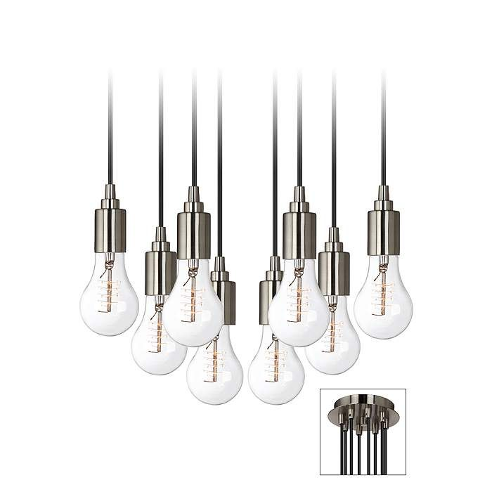 Europa Classic Edison Bulb Brushed Nickel Multi Light Pendant - #2R026-3F785 | Lamps Plus