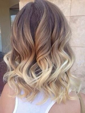 Soft Wavy Brunette to Blonde Ombre Hair for Medium Length Hair by babymoose16