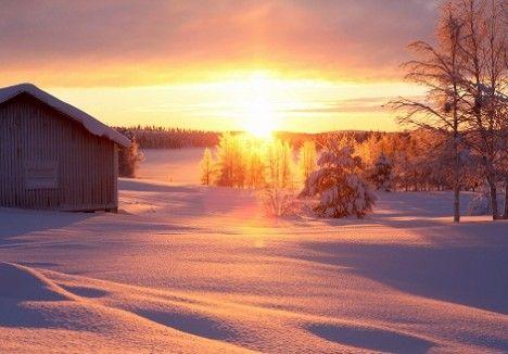 December sunset in the north of Sweden. By Clara Lidström of UnderbaraClara.