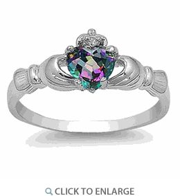 Silver Rainbow Topaz CZ Claddagh Ring. Amazing price!