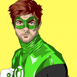 """Artist and illustrator Vicky Trochez has re-fashioned the entire cast of """"Parks and Recreation"""" as superheroes, including Adam Scott, who plays Ben on the show, as the Green Lantern."""