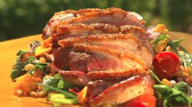 Grilled Duck Breast on a Honey Roasted Carrot-Farro-Herb Salad with Cider Jus--I made this recipe with chicken instead of duck breast, it was very very good