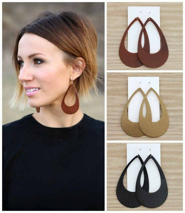 Cut-out leather earrings from ONE little MOMMA. Super light weight and so…