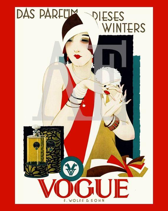 Vintage Poster Art - Vogue Ad 1920s Flapper Parfum Dieses Winters