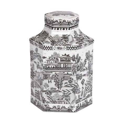 Black and White Hexagon Jar ,  , large