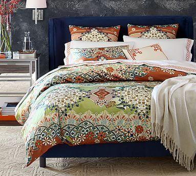 Maki Silk Duvet Cover, King/Cal. King, Orange Multi