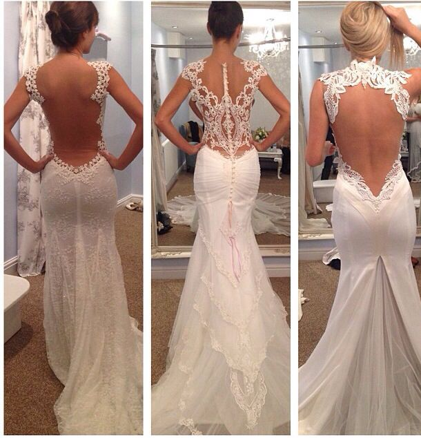 Backless wedding gowns wedding pinterest beautiful for Fitted lace wedding dress with open back