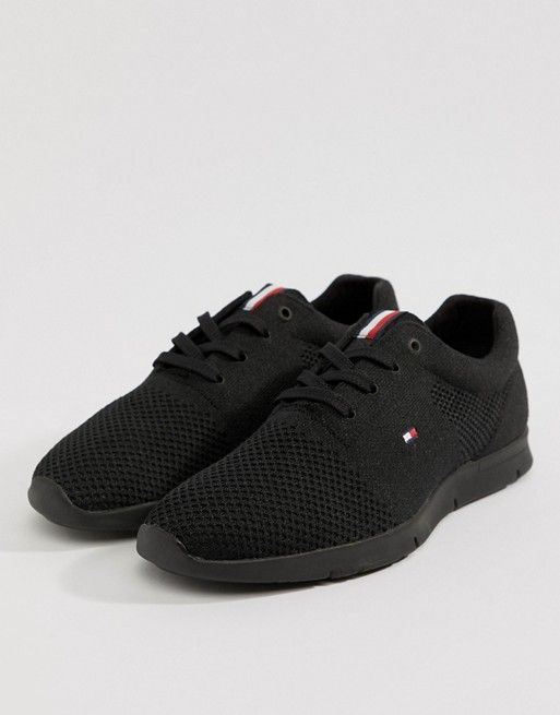 4458b54a0175 Tommy Hilfiger tobias knit trainer in black