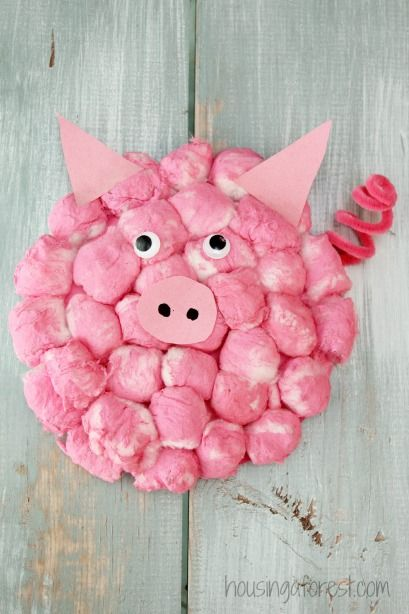 We love simple paper plate crafts. The kids had so much fun creating these simple little pigs. They are so cute and puffy!