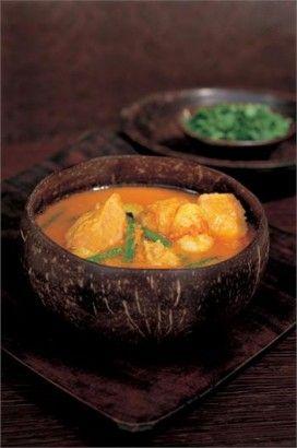 Nigella's Thai Yello Pumpkin and Seafood Curry.  Super yummy!  We use butternut squash instead of pumpkin.