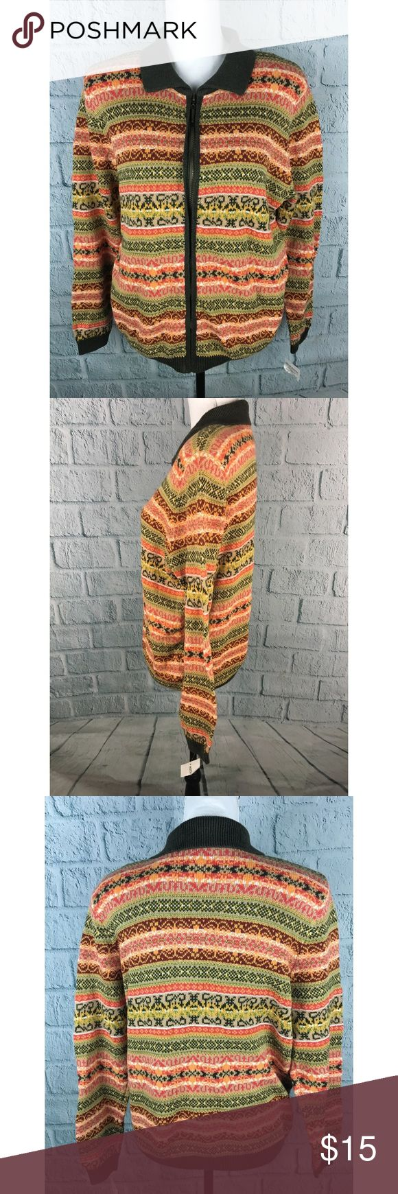 "NWT Nordic Print Zip Up Sweater Orange Green Alfred Dunner Zip Up Women's Cardigan NWT ""New England Trail"" Print in reds, greens, and oranges - very rustic! Lightly padded shoulders Ramie/Cotton/Acrylic Size M --- Pit to Pit: 23"" --- Length: 25"" ---- Sleeve: 26"" Alfred Dunner Sweaters Cardigans"