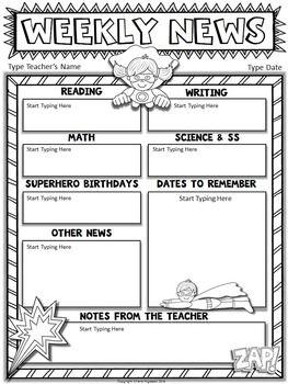 FREE Superhero Editable Newsletter Template