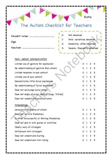 The Autism Checklist for Teachers from Little Learners- little hands and feet, big potential! on TeachersNotebook.com (3 pages)