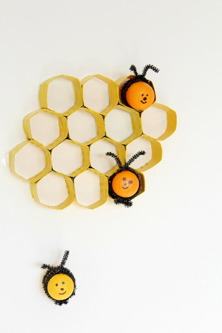 Craft bumble bee - Honeycomb Toilet Paper Roll Crafts