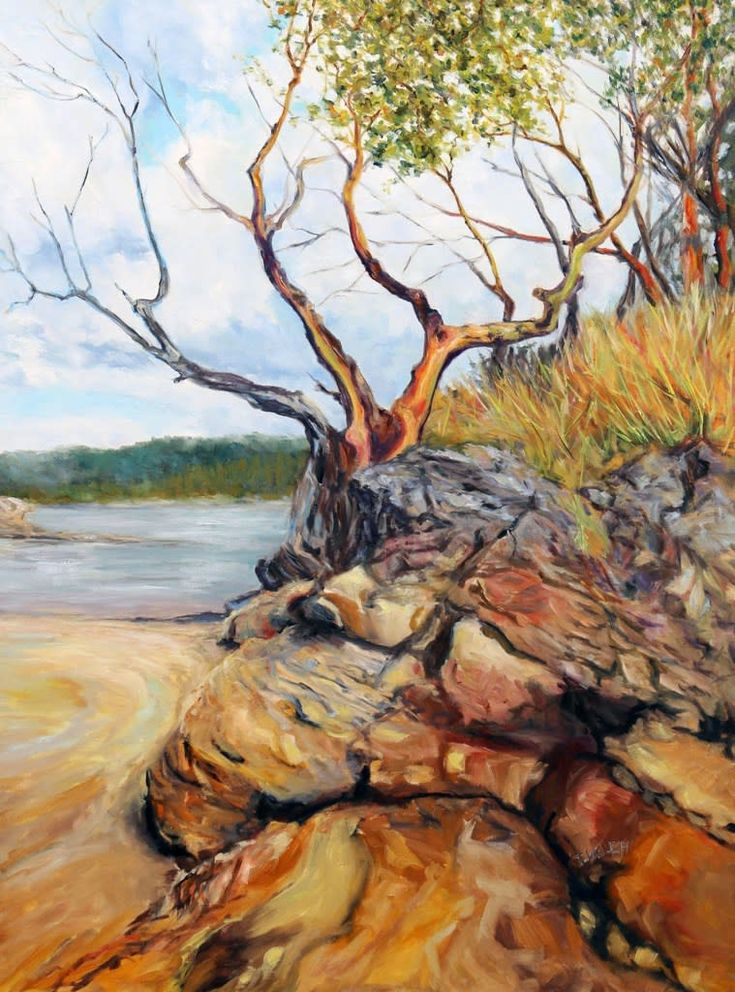 Morning Coon Bay Galiano Island BC - large 48 X 36 inch oil painting by Canadian landscape painter Terrill Welch