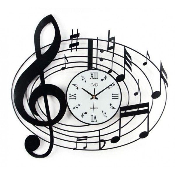 Nástenné designové hodiny JVD HJ03 Husľový kľúč 55cm, nastenne hodiny, na stenu, dekoracie do bytu, dizajn