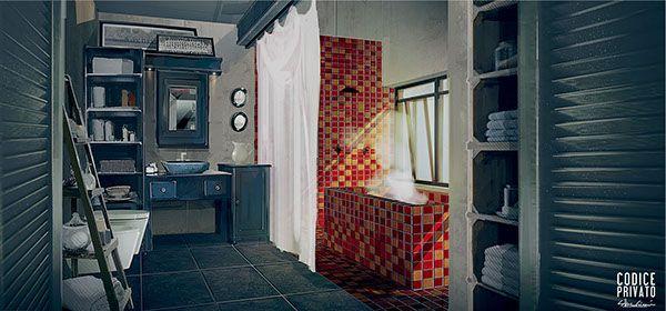 Environment interior - Bathroom  Cinema set Codice Privato by Silva Giovanni