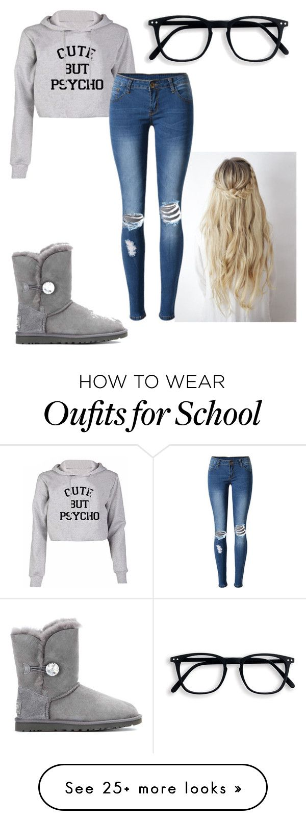 """Cute school outfit"" by rickibetts on Polyvore featuring WithChic and UGG"