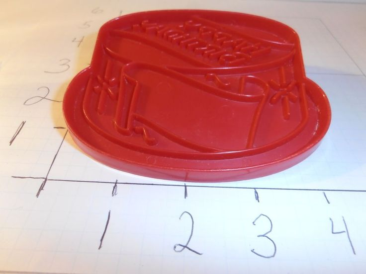 Happy Birthday Cake Vintage Tupperware Cookie Cutter Red Plastic Party