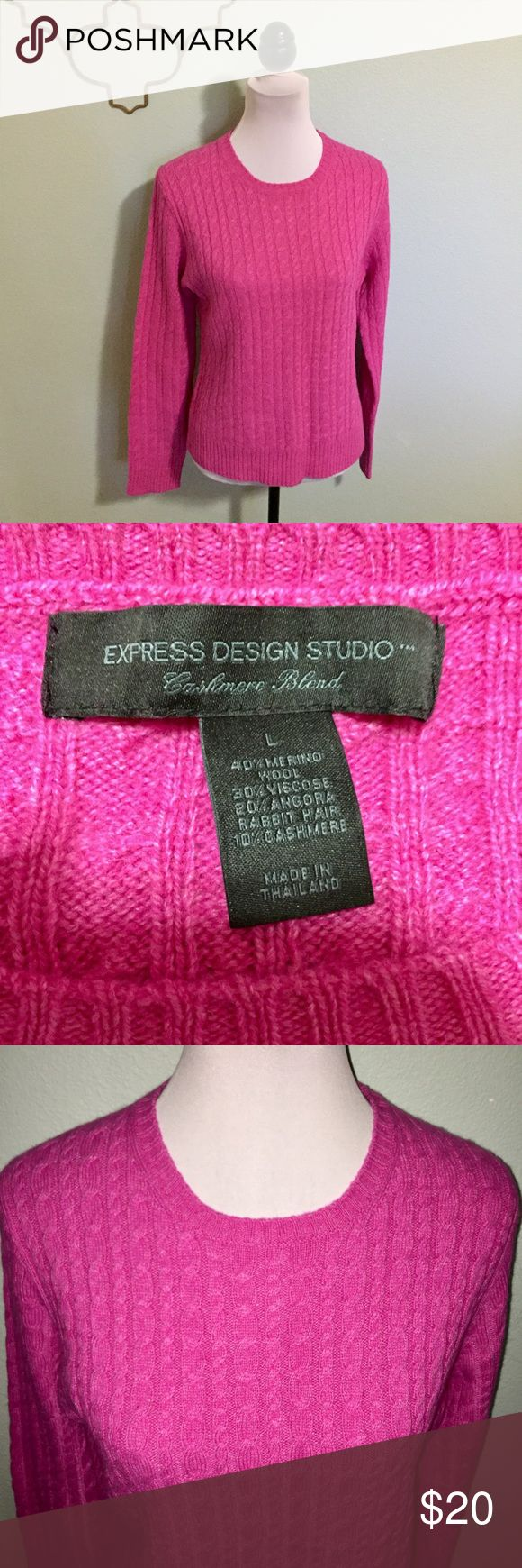 Express hot pink Cashmere blend cable knit sweater Express Cashmere blend hot pink cable knit sweater. Size Large. 40% Merino wool, 20% viscose, 20% Angora rabbit hair. Express Sweaters Crew & Scoop Necks