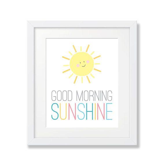 Sunshine Kids Art, Good Morning Sunshine Printable, Moon and Sun Art Prints, Yellow Sunshine, Good Morning Nursery, Kids Wall Art Poster Sun