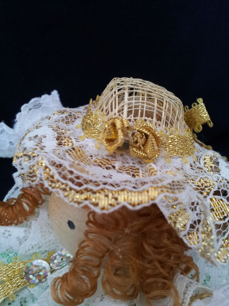 The Irish Belle. Detail view. Collectable Pin Cushion Doll. Material: Cotton & Lace. $25.00CAD + S/H if applicable. $0.00 Tax. Please contact Nola here at: www.facebook.com/elegantcreationsbynola  for purchase