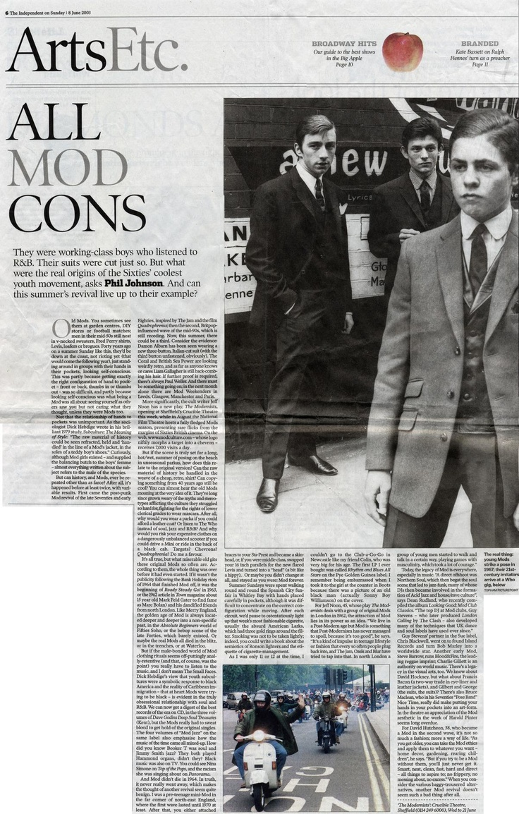 The Mod Man - he was tailored to perfection, suited & booted. Just what you want from your Groom!  This press cutting is about the British subculture's 1980s revival. Xx  early 1980s