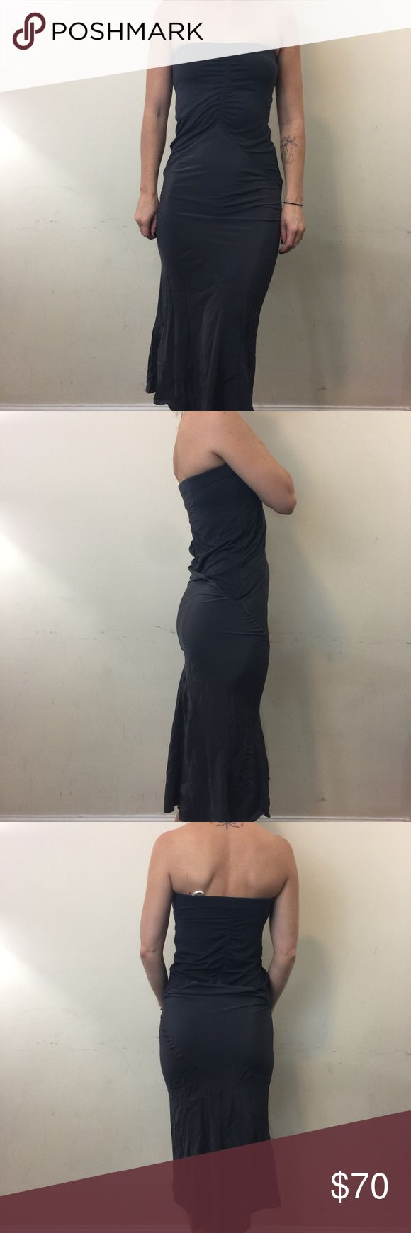 Reiss Charcoal Ruched Satin Silk Strapless Dress Reiss Dress Satin accents with a ruched body in sections is very flattering and has an elastic top. Reiss Dresses