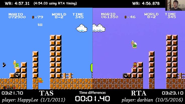 Side by side comparison of a flawless Tool Assisted Speedrun and real time world record play through of the original Super Mario Bros.