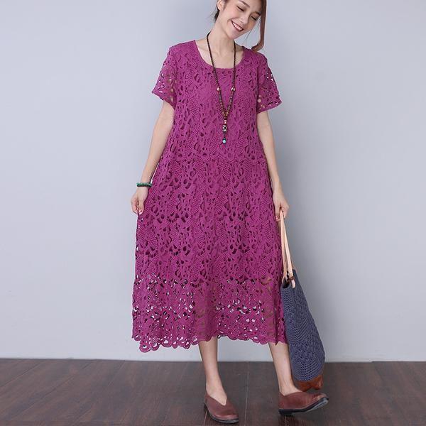 Vintage Casual Hollow Lining Women Purple Dress