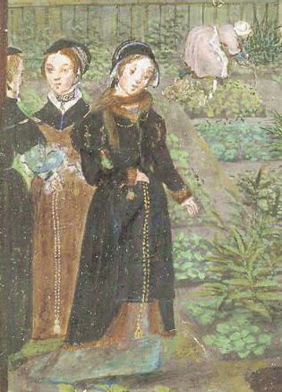 """""""""""""""Circa 1550, Outdoor Clothes""""""""""""-----> Fur muffler and partlets over gowns.  Love the fur around the neck"""